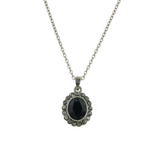 Hematite-Tone Black Oval Pendant Necklace 16 - 19 Inch Adjustable