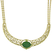 Gold Tone Green Moonstone Oval Collar Necklace 16 In Adj