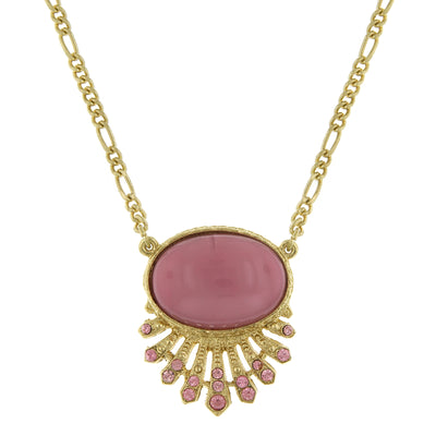 Gold Tone Oval Necklace 16   19 Inch Adjustable Pink