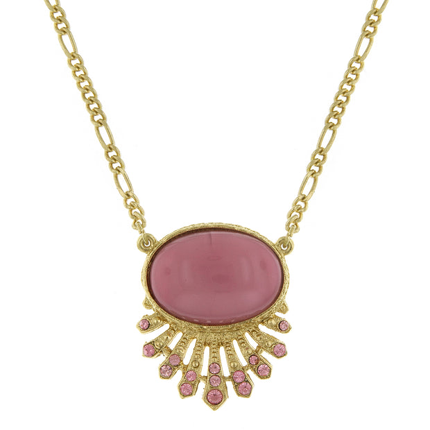 Gold Tone Oval Necklace 16 - 19 Inch Adjustable Pink