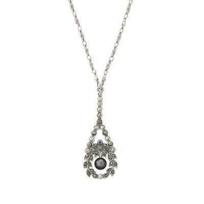 Silver-Tone Hematite Crystal Pearshape Drop Necklace 16 In Adj