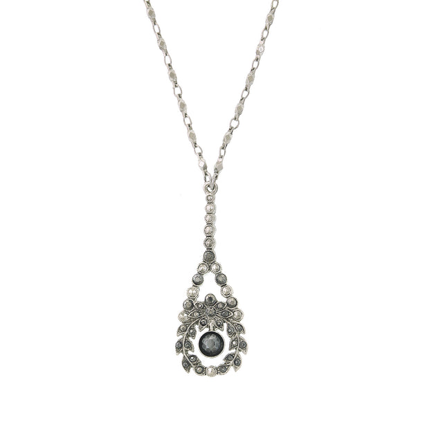 Silver Tone Hematite Crystal Pearshape Drop Necklace 16   19 Inch Adjustable