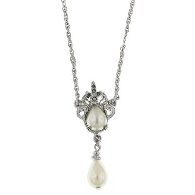 Silver Tone Costume Pearl And Marcasite Drop Necklace 16   19 Inch Adjustable