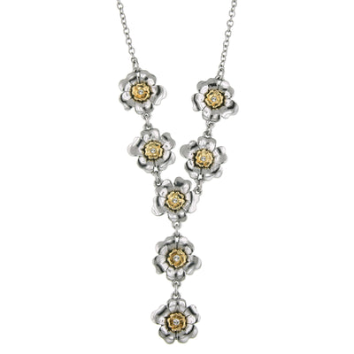 2028 Crystal Flower Y-Necklace 18 In Adj
