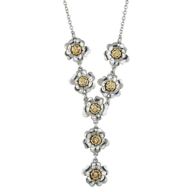 Crystal Flower Y-Necklace 18 In Adj