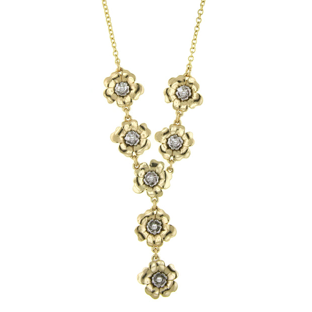 Gold/Silver Tone And Crystal Flower Y Necklace 18 In Adj