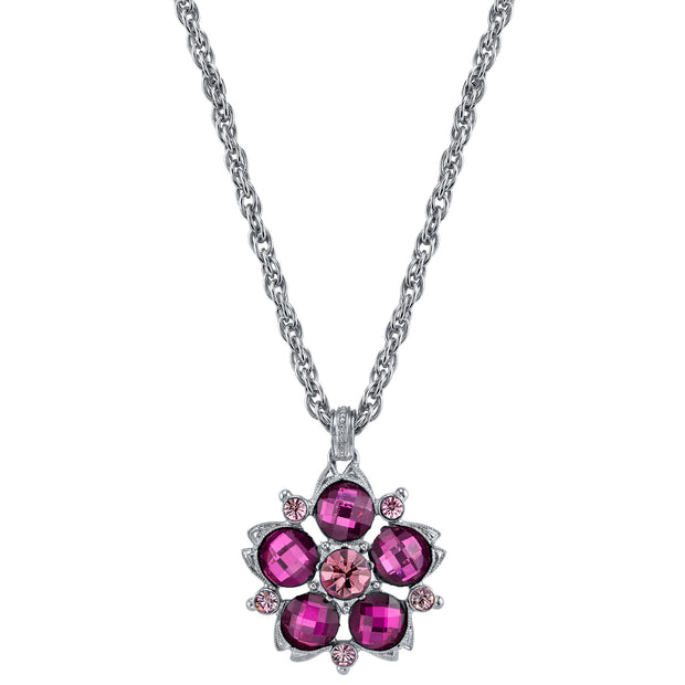 Purple Faceted Flower Pendant Necklace 16 - 19 Inch Adjustable