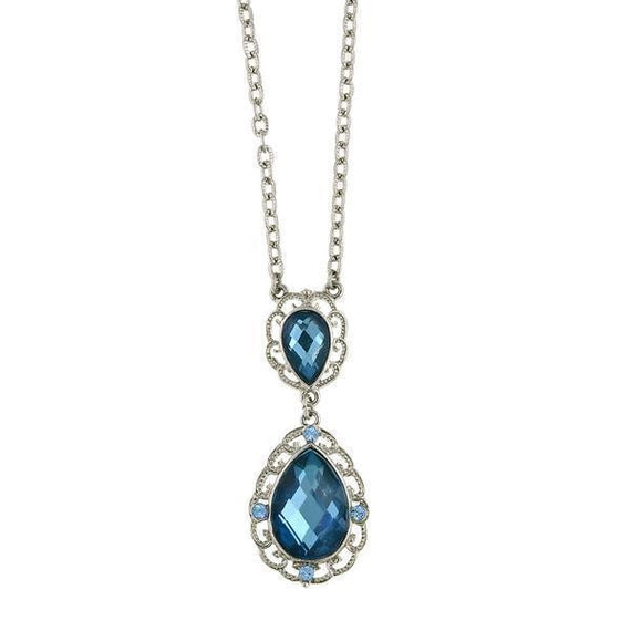 Silver-Tone Blue Pearshape Stone and Light Blue Crystal Pendant Necklace 16 Adj.
