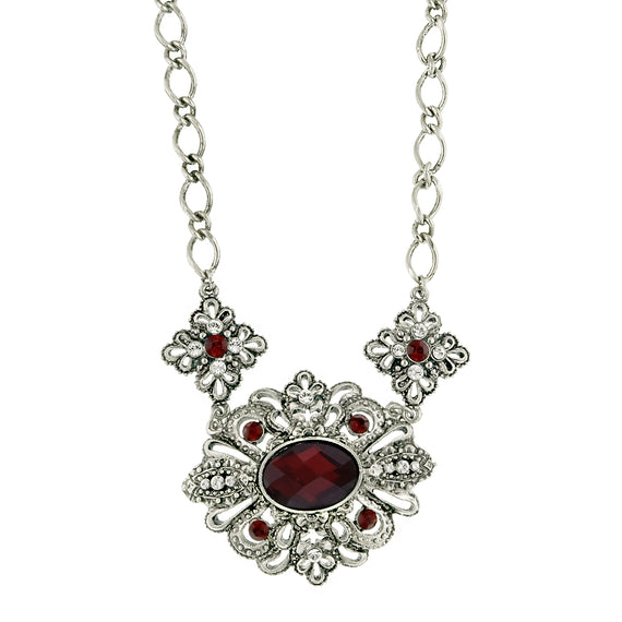 Ravishing Red Siam Crystal Encrusted Statement Necklace