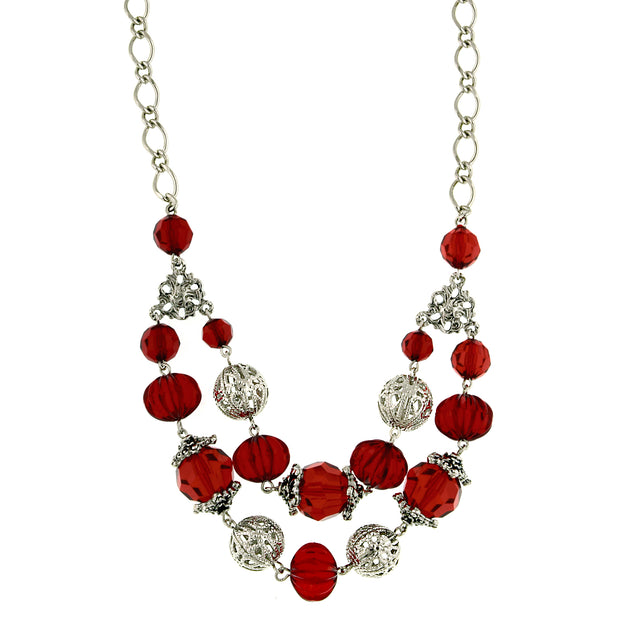 Silver-Tone Red And Filigree Bead Double Strand Necklace 18 In