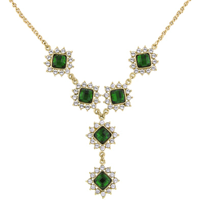 Gold-Tone Green Stone And Crystal Y-Necklace 16 - 19 Inch Adjustable