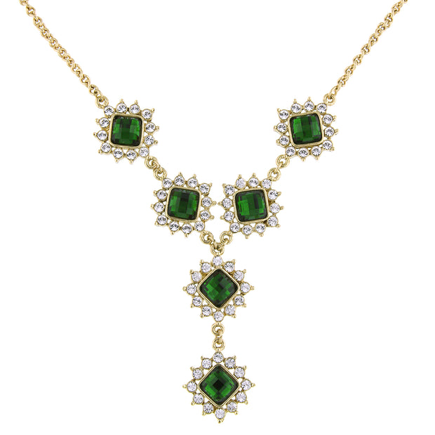 Gold-Tone Green Stone and Crystal Y-Necklace 16 In Adj