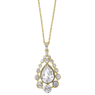 Gold Tone Crystal Caged Pearshape Pendant Necklace 16   19 Inch Adjustable