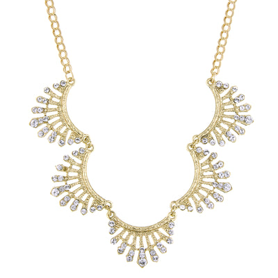 Gold-Tone Crystal Scallop Collar Necklace 16 - 19 Inch Adjustable