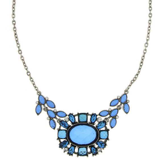 Fashion Jewelry - 2028 Deschanel Silver-Tone Blue and Crystal Statement Necklace