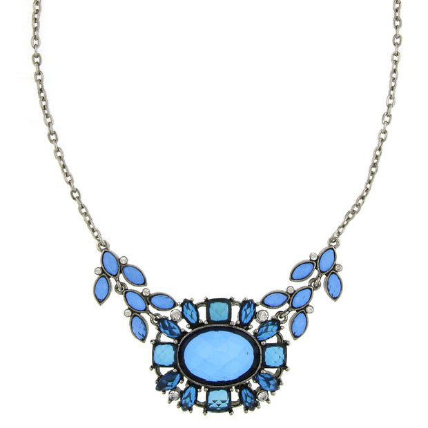 Silver-Tone Sapphire Blue and Crystal Necklace 16 In Adj