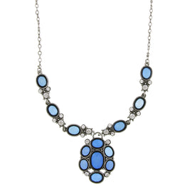 Silver-Tone Blue Stone and Crystal Pendant Necklace 16 In Adj