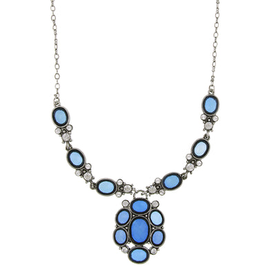 Silver Tone Blue Stone And Crystal Pendant Necklace 16   19 Inch Adjustable