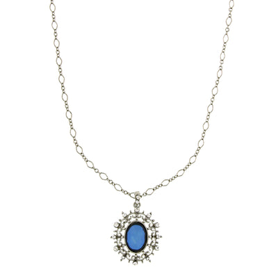 Silver-Tone Blue Stone And Crystal Oval Pendant 16 - 19 Inch Adjustable