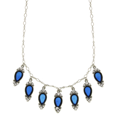 Silver-Tone Blue Stone and Crystal Inverted Pearshape Drop Necklace 16 In Adj