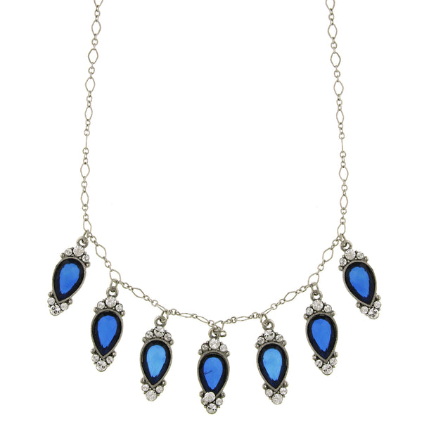 Silver-Tone Blue Stone And Crystal Inverted Pearshape Drop Necklace 16 - 19 Inch Adjustable