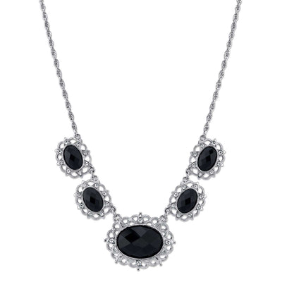Silver-Tone Black Stone and Crystal 5-Oval Collar Necklace 16 In Adj