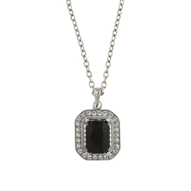 Silver-Tone Black and Crystal Octagon Pendant Necklace 16 In Adj