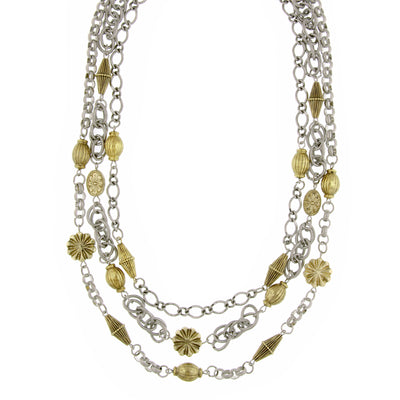 Silver-Tone And Gold-Tone 3-Strand Chain Drape Necklace 18 In