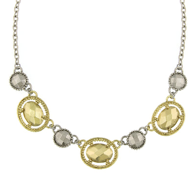 Silver and Gold-Tone Faceted Oval Collar Necklace 16 In Adj
