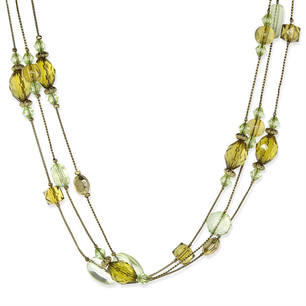 Brass Olivine Multi-Row Strandage Necklace 16 In Adj
