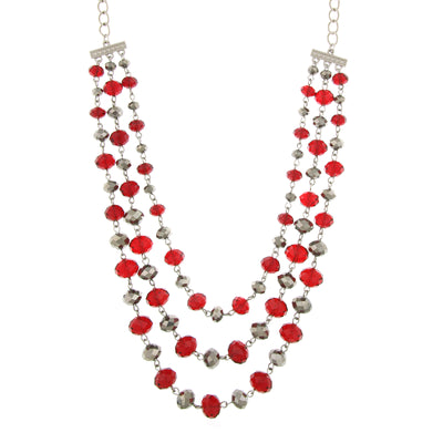 Silver-Tone Siam Red And Hematite Color Beaded 3-Strand Necklace 18 In