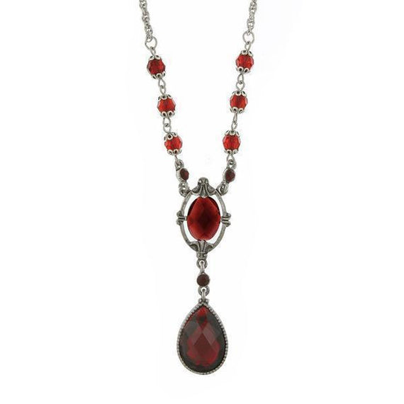 Silver-Tone Red Faceted Teardrop Y-Necklace 16  Adj.