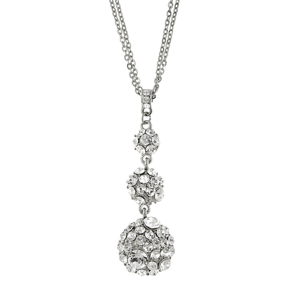 Silver-Tone Crystal Drop Necklace 16 In Adj