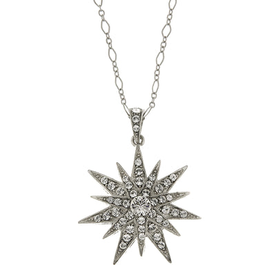 Silver-Tone Crystal Star Pendant Necklace 16 - 19 Inch Adjustable