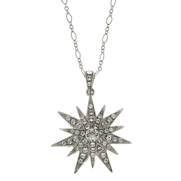 Silver Tone Crystal Star Pendant Necklace 16   19 Inch Adjustable