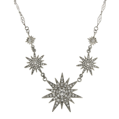 Silver-Tone Crystal Multi-Star Necklace 16 - 19 Inch Adjustable