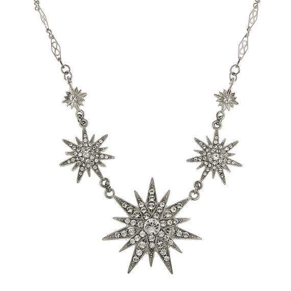 Silver-Tone Crystal Multi-Star Necklace 16 In Adj