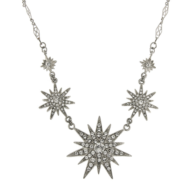Silver Tone Crystal Multi Star Necklace 16   19 Inch Adjustable