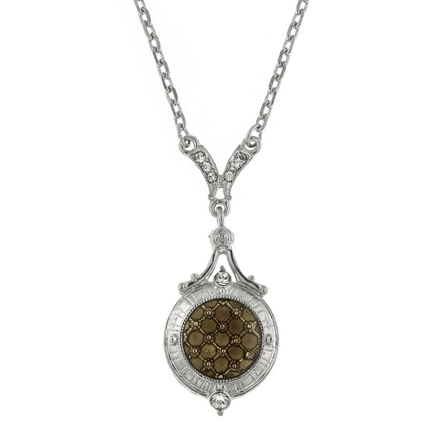 Silver-Tone Black Diamond Small Pendant Necklace 16 In Adj