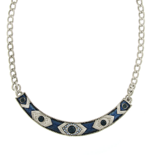 Silver-Tone Blue Crystal and Blue Enamel Collar Necklace 16 In Adj