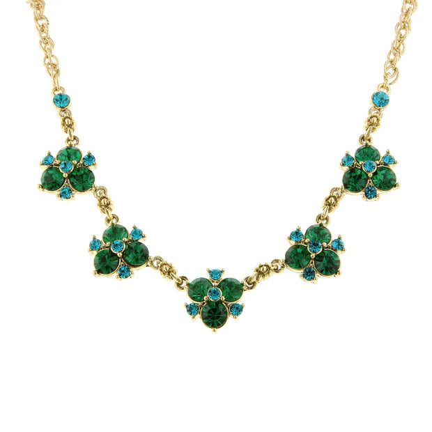 Gold-Tone Green and Blue Zircon-Color Crystal Cluster Collar Necklace 16 In Adj