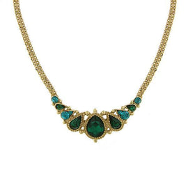 Gold-Tone Green and Blue Zircon-Color Crystal Pearshape Bib Necklace 16  Adj.