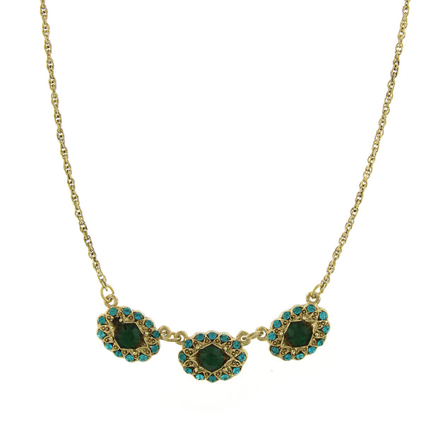 Gold-Tone Green and Blue Zircon Color Crystal Collar Necklace 16 In Adj