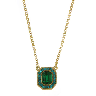 Gold-Tone Green and Blue Zircon-Color Crystal Octagon Pendant Necklace 16 In Adj