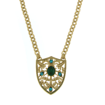 Gold-Tone Blue Zircon And Emerald Crystal Shield Pendant Necklace 20 In