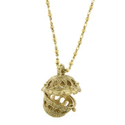 Gold Tone Basket Pendant Necklace 24 In