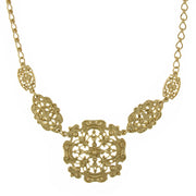 Gold-Tone Textured Filigree Collar Necklace 16 - 19 Inch Adjustable