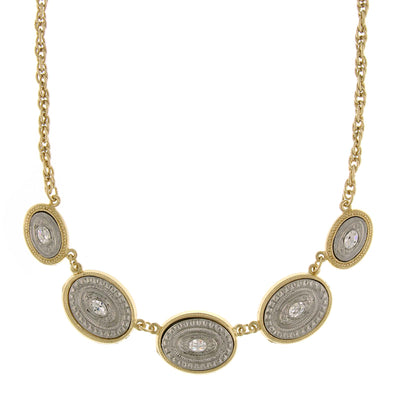 Gold-Tone And Silver-Tone Crystal Accents Oval Station Necklace 16 - 19 Inch Adjustable