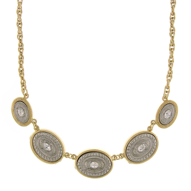 Gold Tone And Silver Tone Crystal Accents Oval Station Necklace 16   19 Inch Adjustable