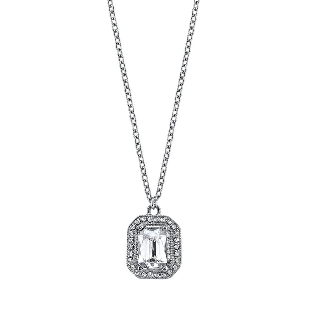 Silver Tone Crystal Octagon Pendant Necklace 16   19 Inch Adjustable
